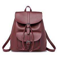 Рюкзак сумка женский для девушек из экокожи с накладным карманом  (винный), фото 1