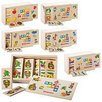 Деревянное Домино (игра с 28 деревянными карточками, 6 видов (игрушки, фрукты, транспорт, сказки, дикие животные, домашние животные