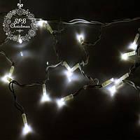 Вулична світлодіодна гірлянда бахрома (80 LED, 2х0,5м, IP65, білий провід каучук), колір світіння жовтий, фото 1