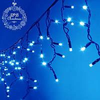 Уличная светодиодная гирлянда бахрома (80 LED, 2х0,5м, IP65, черный провод каучук), цвет свечения голубой, фото 1