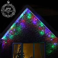 Уличная светодиодная гирлянда бахрома (160 LED, 5х0,7м, IP65, черный провод каучук, МЕРЦАНИЕ), цвет RGB