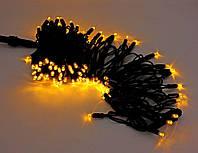 Вулична світлодіодна гірлянда нитка 10 метрів 100 led на чорному проводі, колір жовтий, фото 1