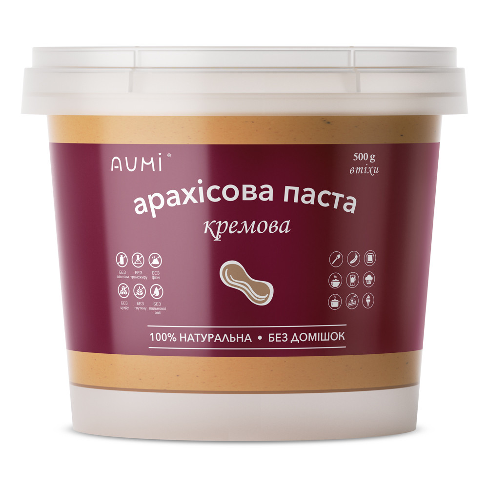 Арахисовая паста Кремовая, 500г, 100% арахис, арахисовое масло без добавок