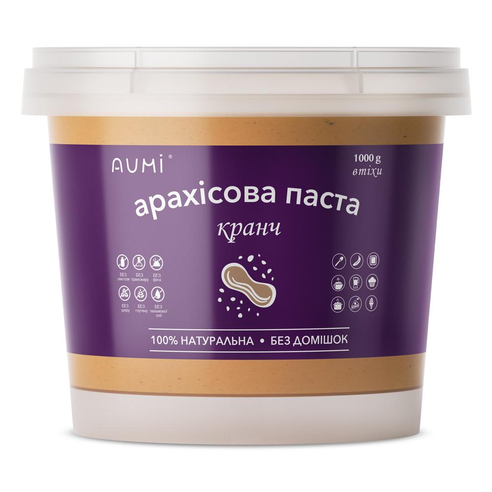 Арахісова паста КРАНЧ, 1кг, відро, з хрусткими шматочками арахісу, натуральна без домішок