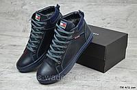 289746002c46 Мужские ботинки на меху в стиле Tommy Hilfiger, синие. Код товара  МС -