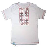 Футболка - вышиванка для мальчика, рост 80-86 см (машинная вышивка крестиком, короткий рукав)