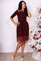 Нарядное бордовое платье на праздник