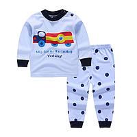 Пижама для мальчика футболка с длинными рукавами и штаны Linkcard Машинка рост 90 см голубая 06116
