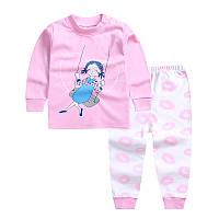 Пижама футболка с длинными рукавами и штаны Linkcard Качели рост 90 см розовая 06129, фото 1