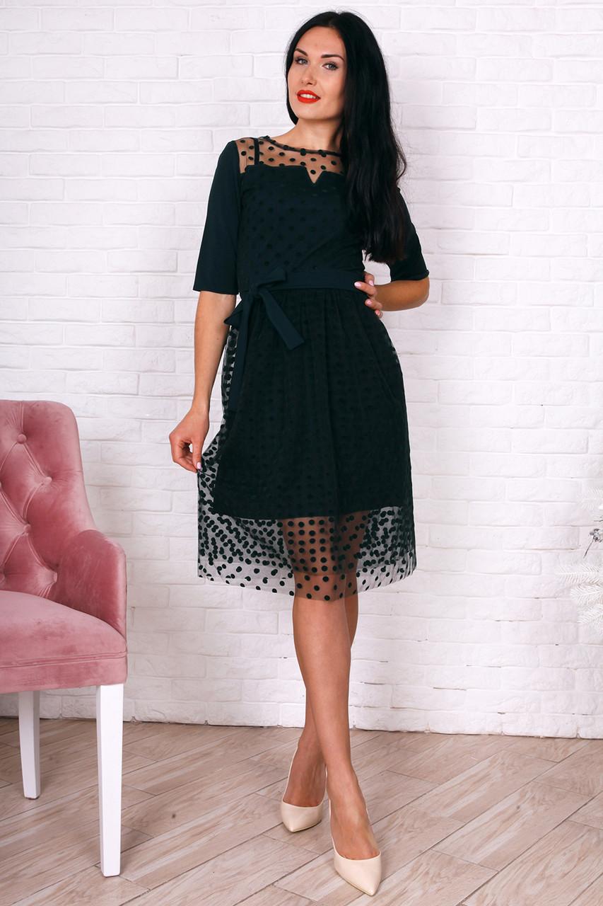 77a0dd4c91a Стильное платье с пышной юбкой бутылочное  продажа