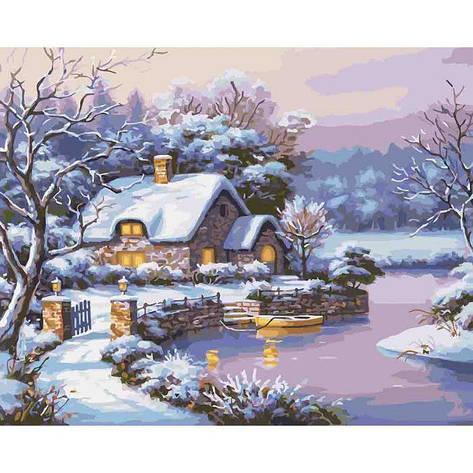 """Картина по номерам. Сельский пейзаж """"Сказочная зима"""" 40*50см KHO2248                                , фото 2"""