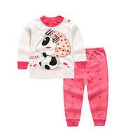 Пижама футболка с длинными рукавами и штаны Linkcard  Панда беби рост 100 см белая+розовая 06134
