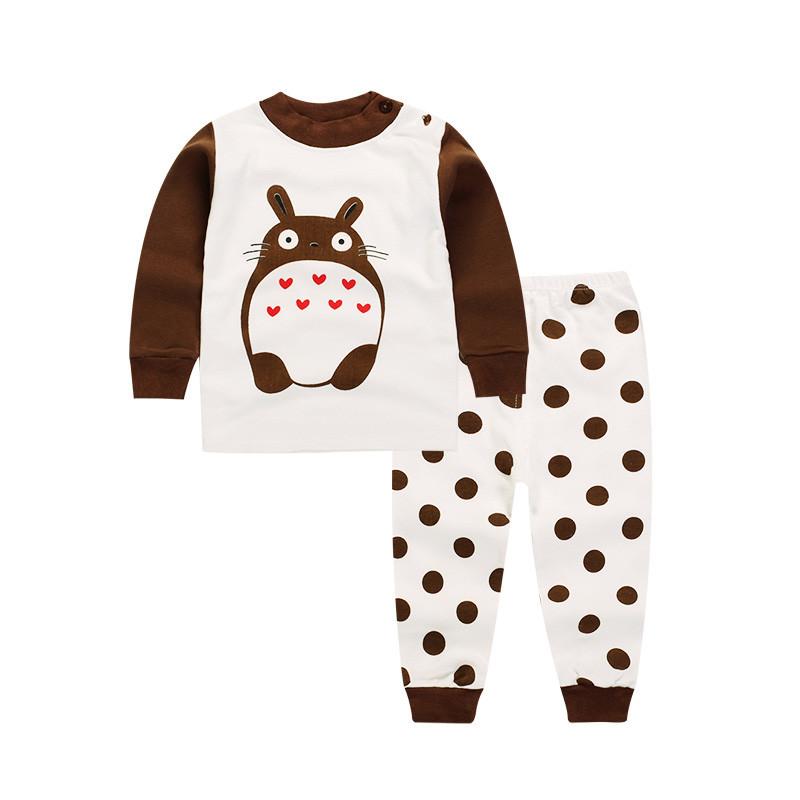 Пижама детская футболка с длинными рукавами и штаны  Linkcard  Заяц рост 110 см белая+коричневая 06151