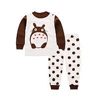 Пижама детская (футболка с длинными рукавами + брюки) Linkcard Заяц 110 см Белая с коричневым (06151), фото 1