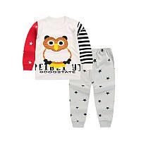 Пижама для девочки (футболка с длинными рукавами + брюки) Linkcard Сова 100 см Белая с красным (06152)