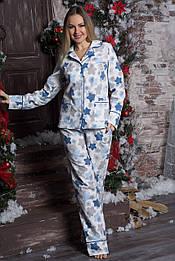 Пижама теплая из фланели П702 Пряники синие