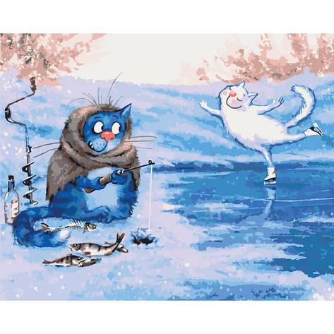 """Картина по номерам. Животные, птицы """"Зимняя рыбалка"""" 40*50см KHO4084, фото 2"""