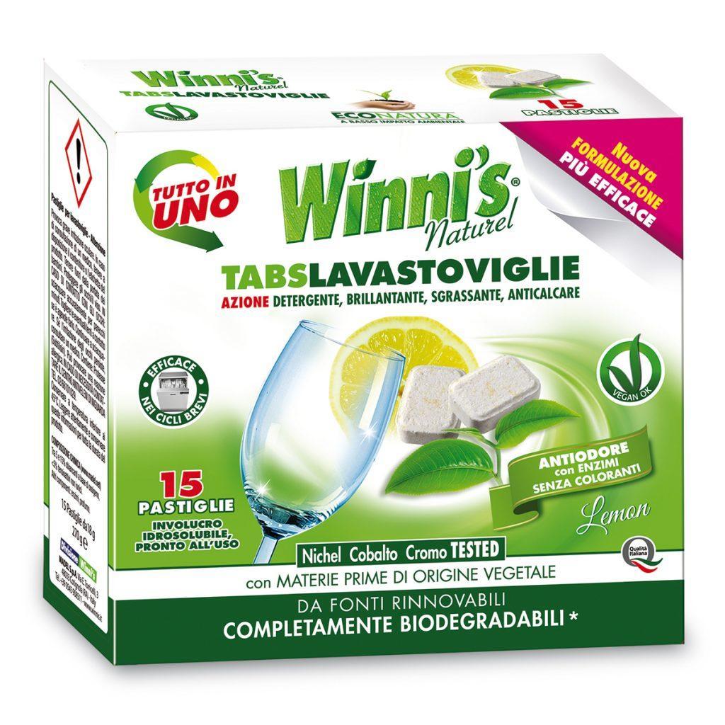 Гипоалергенные таблетки для посудомоечной машины Winni's Tabs Lavastoviglie 15 штук