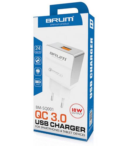 СЗУ, адаптер BRUM BM-SQ-001 Быстрая зарядка QC3.0 (1USB 3.1A)