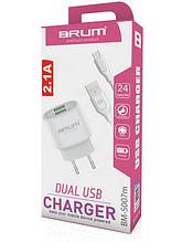 Сетевое зарядное устройство, СЗУ, адаптер BRUM BM-S007m (2USB 2.1A) + кабель Micro USB белый