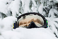 Окуляри гірськолижні LG  (акрил, пластик, PL, подвійні лінзи, антифог, колір лінз-оранж, оправа чорно-корич), фото 1