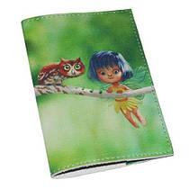 Кожаная женская обложка для паспорта -Фея и сова-