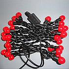 """Світлодіодна гірлянда VENOM """"Кульки"""" 40LED, чорний дріт (LS-CONE-40LED-BC-R) Червоний, фото 2"""