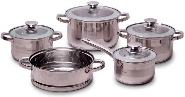 Набор кухонной посуды Kamille Springfield 9 предметов, нержавеющая сталь