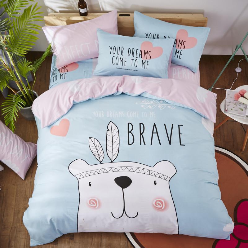Комплект постельного белья Медведь - индеец (двуспальный-евро) Berni Home