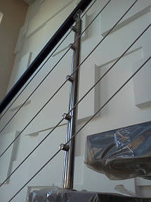 тросовое ограждение лестничного пролета в частном доме, Запорожье, зима 2016 14