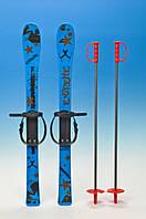 Лыжи синие с рисунком 90 см.