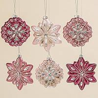 Подвесная звезда набор из 6х шт розовое стекло d10-11см 1007006