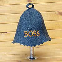 Шапка для сауны серого цвета Boss