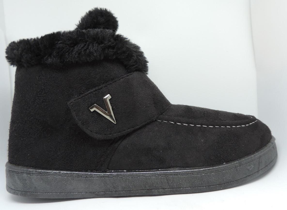 Ботинки женские замша. Угги короткие Progress. Зимняя женская обувь на меху.