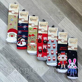 Носки женские махровые х/б Новый год Bross Socks, 36-40 размер, ассорти, 02498