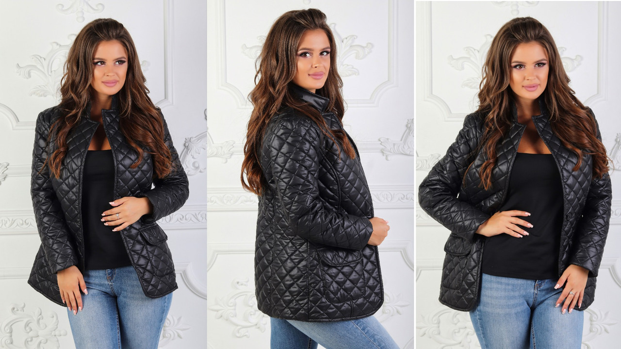 """Женская  стильная куртка-пиджак на синтепоне  демисезон 2190 """"Стёганка Ромбик Карманы"""""""