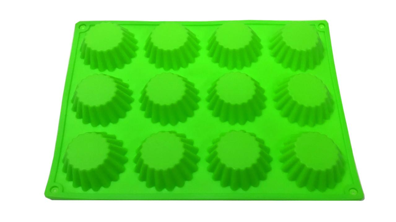 Форма силиконовая Кекс  из 12 шт острый  край малый