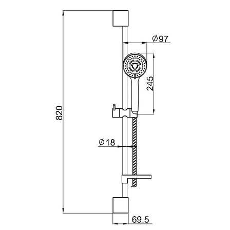 Штанга душевая DOBRANY L-82см,мыльница,ручной душ 3 режима,шланг 1,5м с вращающимся конусом (Anti-Twist), фото 2
