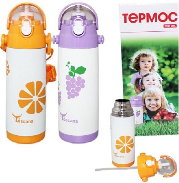 """Термос детский Toscana """"Fruit"""" 360мл с трубочкой, ручкой и ремешком"""