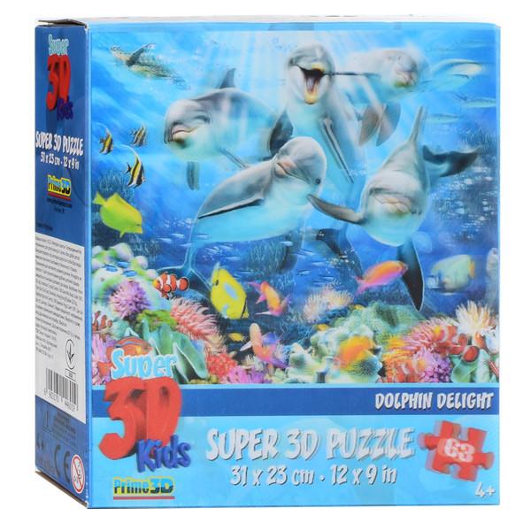 Пазлы с эффектом 3D на 48 деталей (Дельфины), 13522