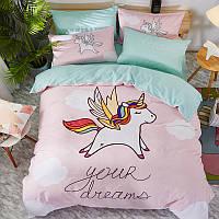 Комплект постельного белья Летящий единорог (двуспальный-евро) Berni