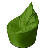 Зеленое бескаркасное кресло мешок Капелька из ткани Оксфорд