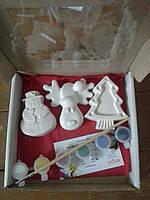 Новогодний набор гипсовых фигурок для творчества. Різдвяний набір гіпсових фігурок для творчості №47