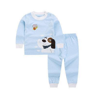 Пижама футболка с длинными рукавами и штаны Linkcard Собачка рост 100 см голубая 06143