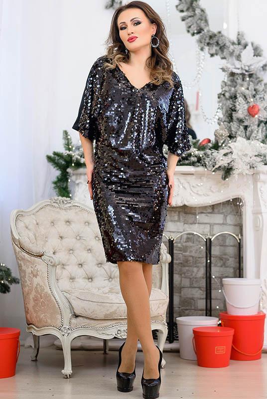 Черное батальное нарядное платье Спайс