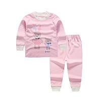 Пижама для девочки (футболка с длинными рукавами + брюки) Linkcard Зайка рост 100 см Розовая (06135)