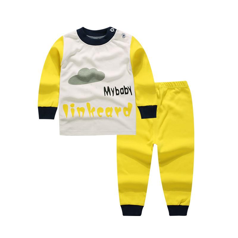 Пижама детская (футболка с длинными рукавами + брюки) Linkcard Облачко 100 см Белая с желтым (06153)
