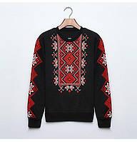 Женский свитер-свитшот  Вышиванка на байке черный XXL Замеры в описании, фото 1