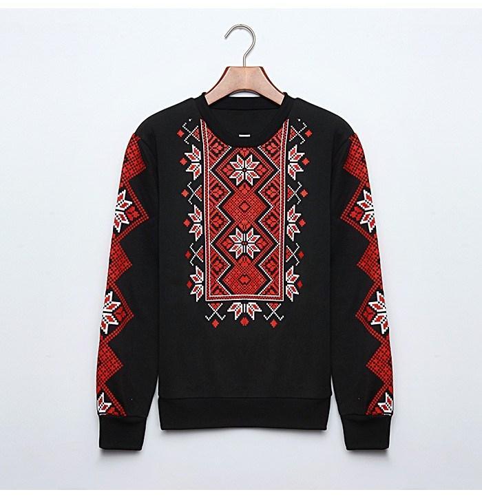 Женский свитер-свитшот  Вышиванка на байке черный XXL Замеры в описании