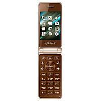 Телефон Sigma mobile X-Style 28 Flip (Gold-mokka). Гарантия в Украине 1 год!